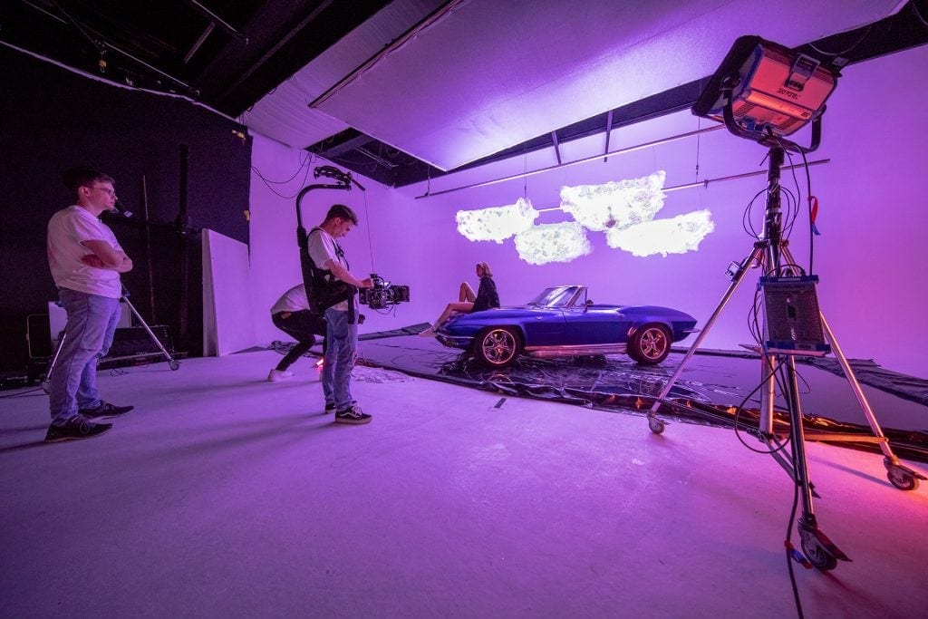 Set of a music video shoot with car