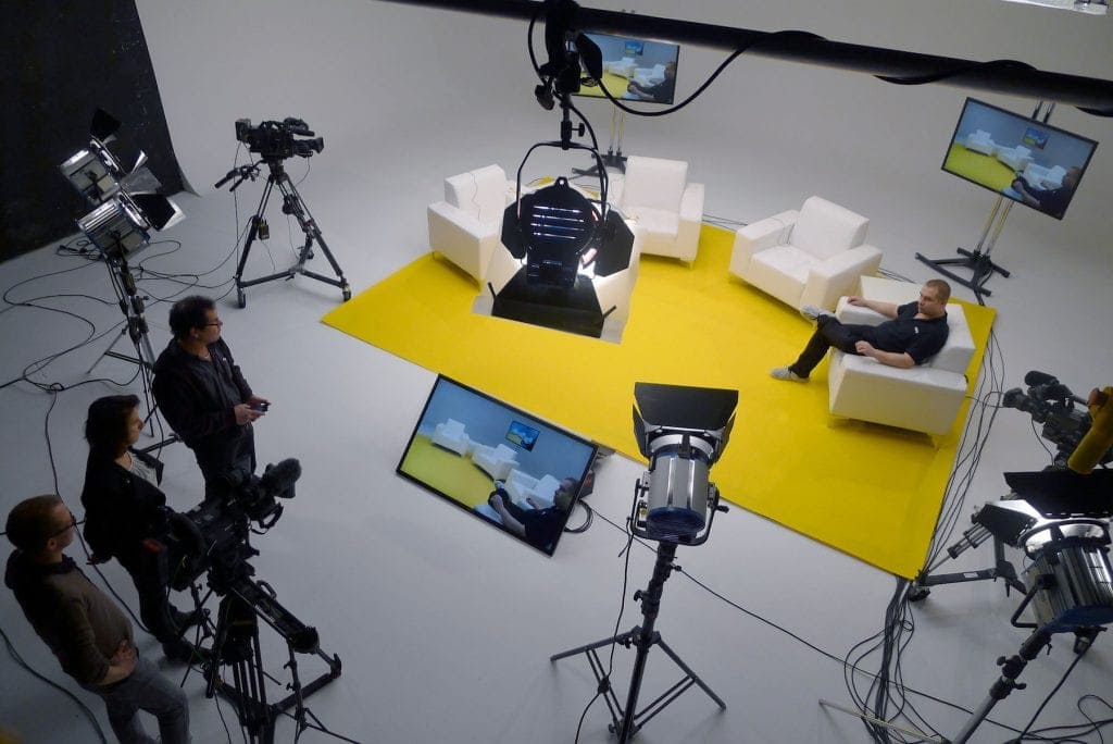 View of a set with a talk show from above